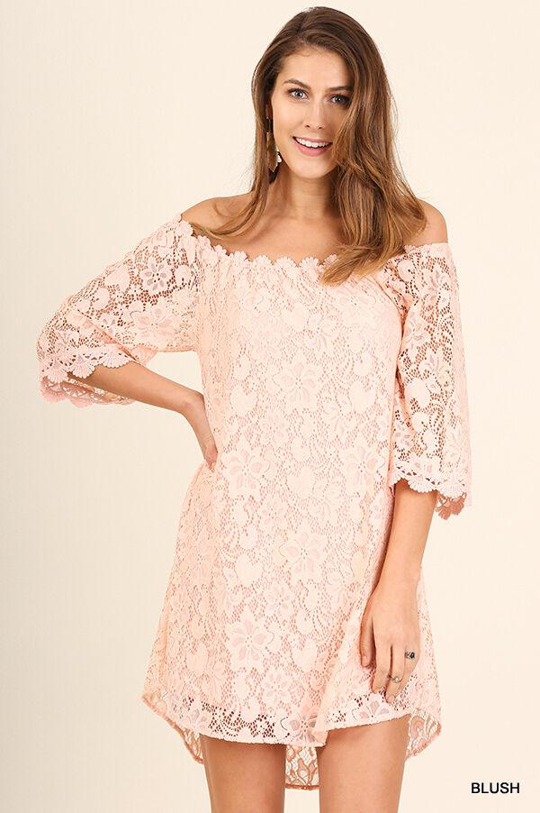 Umgee bluesh Pink Crochet Lace Mini Dress Lined Off Shoulder Tunic Top S M L NWT
