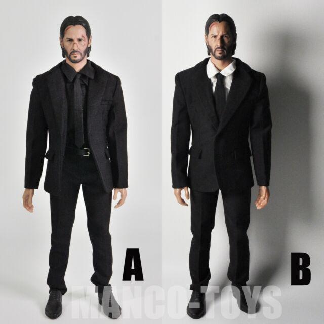 1/6 Keanu Reeves John Wick 2.0 Head Sculpt Men Black Suit Set With 12\u0027\u0027 Body