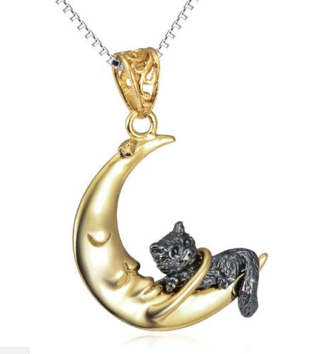 Katze im Mond vergoldet Sterling Silber 925 Anhänger mit Kette