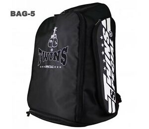 TWINS SPECIAL BACKPACK BAG-5 BLACK GYM BAG BOXING EQUIPMENT MUAY THAI MMA K1