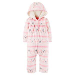 4b30448f7bf1 Carter s Baby Girls  Fleece Hooded Reindeer Penguins Pink White ...