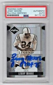 2008 Leaf Limited Lenny Moore Indianapolis Colts Signed Auto Card #157 PSA/DNA
