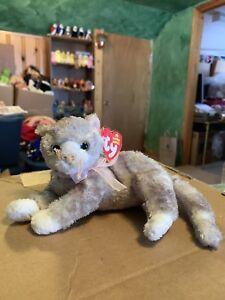 Grey Cat with Pink Ribbon Ty Beanie Babies Rhapsody