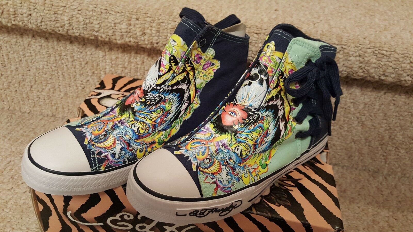 Ed Hardy Women's Highrise Los Feliz Blue Panther Tattoo Shoes US Size 6 Eur 37
