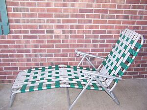 Image is loading VINTAGE-ALUMINUM-FOLDING-MULTI-POSITION-WEB-CHAISE-LOUNGE-  sc 1 st  eBay & VINTAGE ALUMINUM FOLDING MULTI POSITION WEB CHAISE LOUNGE CHAIR ...