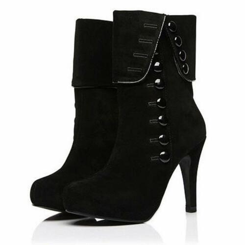 Women Fashion Ankle Boots High Heels Winter Female Red Buttons Decor Shoes 2020