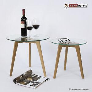 Beistelltisch Couchtisch Sofatisch Glas Tisch 2er Set