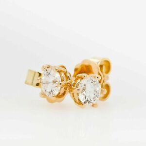 Damen Ohrringe Ohrstecker Gold 750 Brillant 0,10 ct w si 18 kt Gelbgold Diamant
