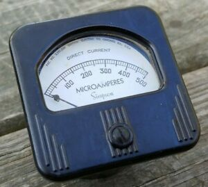 Vintage-SIMPSON-Direct-current-MICROAMPERES-Panel-GAUGE-Meter-STEAMPUNK-Deco