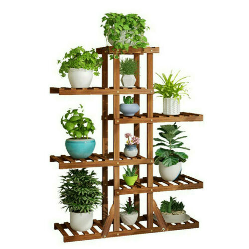 130cm Tall Room Corner Plant Stand Flower Rack 12 Pots Shelf Outdoor Garden Yard