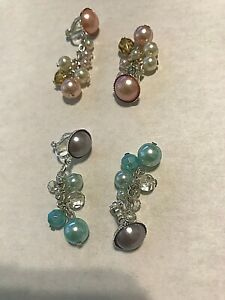 Clip-on Option Faux Pearl and Lilac Crystal Dangly Earrings