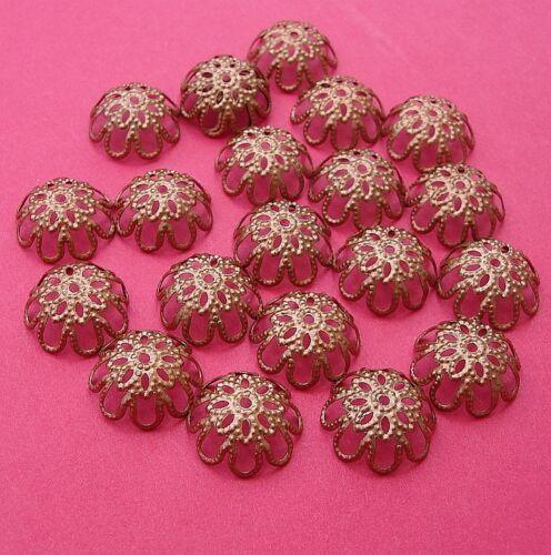50pcs Copper Plated Bead Caps 12mm.