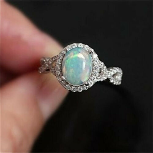 925 Silver Round Fire Opal Gemstone Wedding Engagement Jewelry Ring Size 6-11