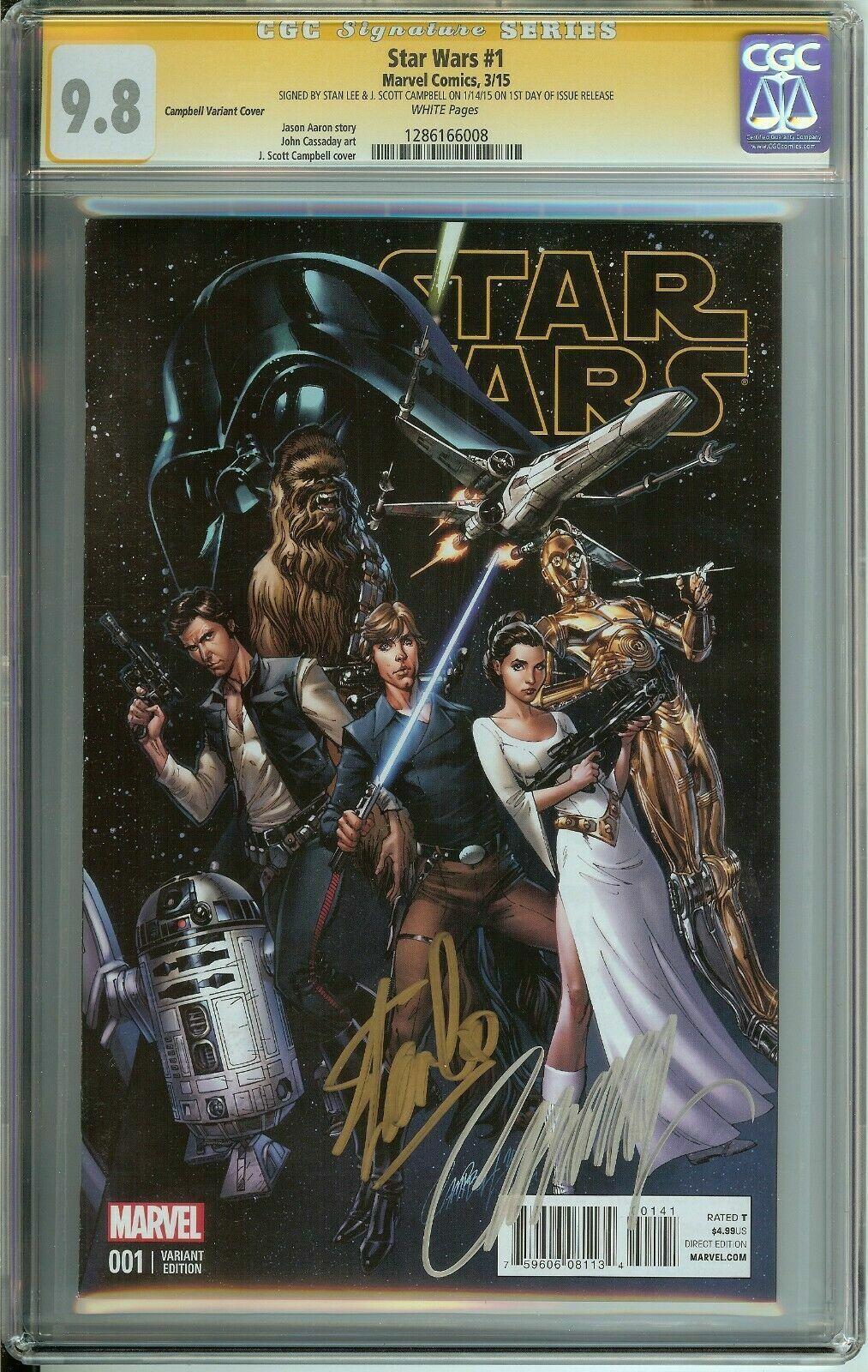 Signé par Stan  Lee Scott Campbell SS Star Wars  1 CGC 9.8 Pages Blanches variante  meilleure mode