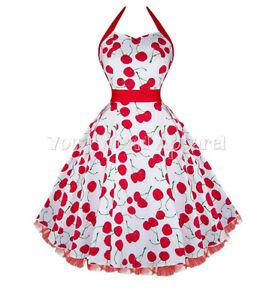 c74ba1b3de4 H R LONDON WHITE BIG CHERRY HALTER DRESS PINUP 1950s ROCKABILLY ...
