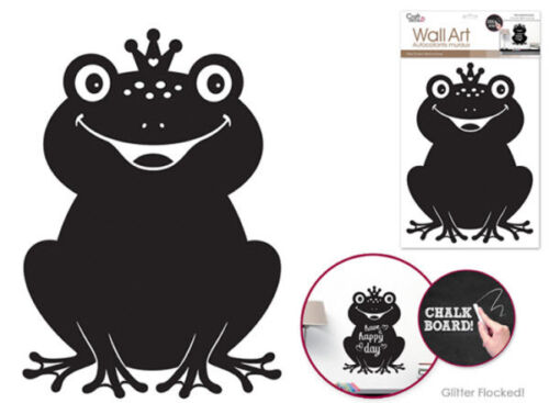 FROG CHALKBOARD wall sticker BIG decal with flocked glitter animal decor prince