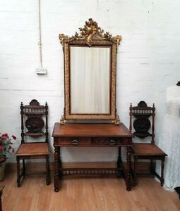 CHARMING-LARGE-ANTIQUE-FRENCH-CRESTED-GILT-GESSO-MIRROR-C1900