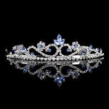 3cm hoch Blau Hochzeit Braut Haarschmuck Haarreif Kommunion Krone Diademe Tiara