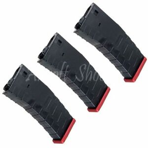 Airsoft APS 3pcs 300rd U Mag Hi-Cap Magazine FMR/ASR/UAR/M-Series AEG Black/Red