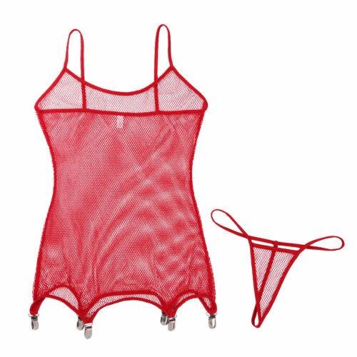 Lencería Adulto Fishnet Medias Cuerpo Body Mujer Vestido Con 6 LIGA FISHNET