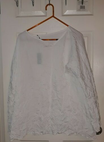Babette White Crinkled Shirt Top Size XL