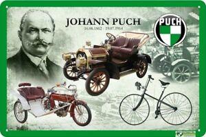 Blechschild-Johann-Puch-16-06-1862-19-07-1914-20-x-30-cm-mit-Motivpraegung
