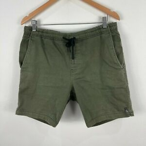 Industrie Mens Shorts 34 Green Elastic Waist Drawstring Chino Pockets