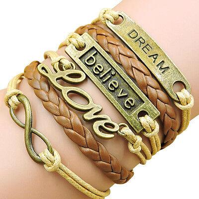 Hot New Fashion Bronze Infinity Believe Love Friendship Brown Woven Bracelet A