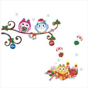 Weihnachten-Vogel-Eule-Natur-Tier-Kinder-Wandsticker-Wandtattoo-Aufkleber