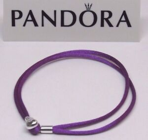 3c01c1a77 New Pandora Purple Large 7.7 in S3 Silky Cord Bracelet Heart Clasp ...
