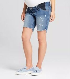 6138452bbe028 NEW! Isabel Maternity Bermuda Shorts W/ Side Panels Distressed Style ...