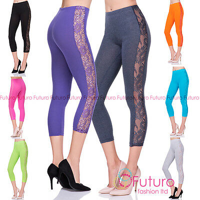 Honesty Corto 3/4 Lunghezza Cotone Morbido Leggings Con Pizzo Donna Active Pantaloni Other