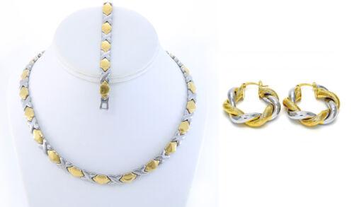 """2 Tone Hugs /& Kisses Collier Bracelet Twist Earring Set en acier inoxydable 18/"""""""