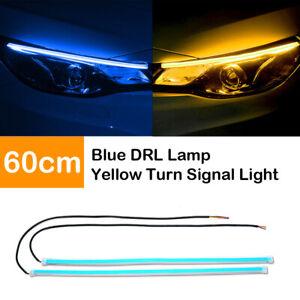 2X-60cm-Flexible-Car-Switchback-Headlight-Tube-LED-Strip-DRL-Light-Blue-amp-Amber