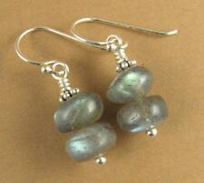Labradorite earrings. Blue green. Natural fire. Sterling silver 925. Handmade.