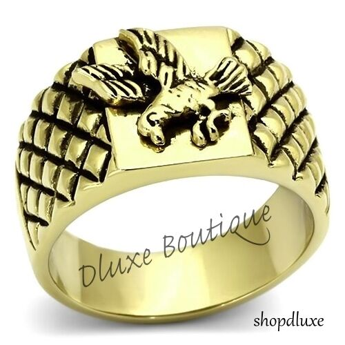 Mens-US-American-Bald-Eagle-14k-GP-Stainless-Steel-Military-Ring-Band-Size-8-13