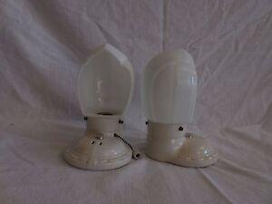 Pair-of-ANTIQUE-Vintage-ART-DECO-Porcelain-milk-glass-pull-chain-bathroom-sconce