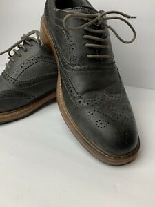 Perry-Ellis-Mens-Dress-Shoes-America-Oxford-Gray-brown-sz-10-5-Excellent-Shape