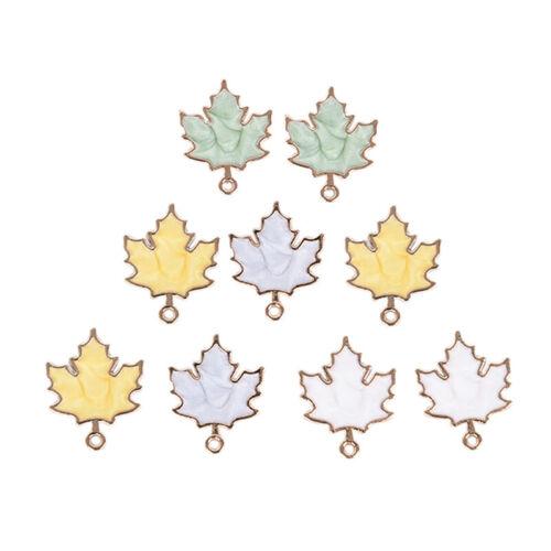 10Pcs//Set Enamel Alloy Handmade Maple Leaf Charms Pendant DIY Craft Jewelry  BCD