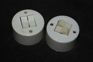 alter Schalter weiß rund Aufputz Lichtschalter AP Serienschalter DDR