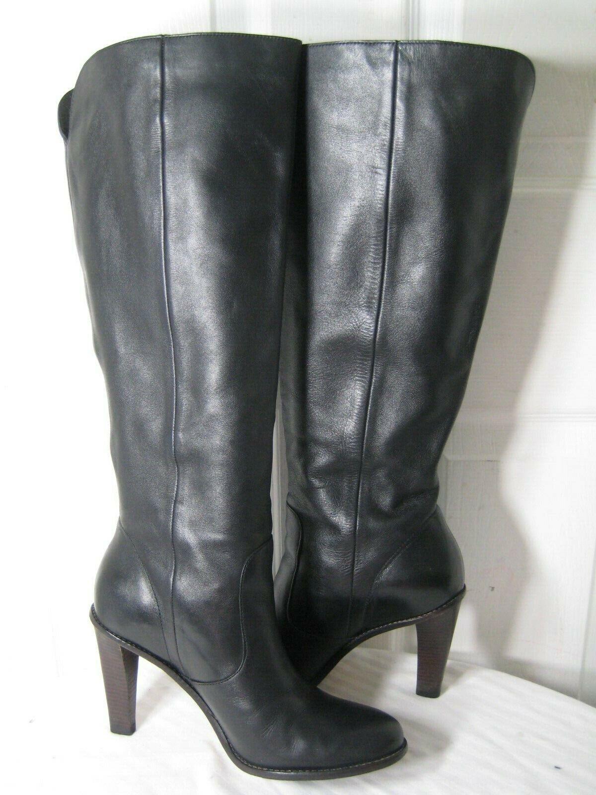 Cole Haan nikeair Negro Cuero zapatos botas de tacón hasta la rodilla para mujer Talla 9 B