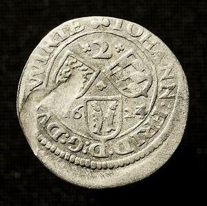 R Stuttgart Württemberg Hzm 2 Kreuzer 1624 Aus 1623 Clear-Cut-Textur Johann Friedrich