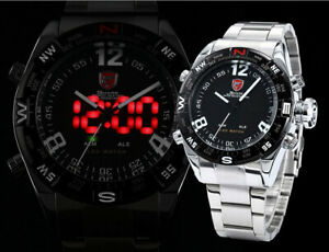 Men's Shark Stainless Steel Sports Watch w/ LED + Analog, Quartz