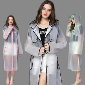 Women EVA Transparent Raincoat Hooded Poncho Raincover Jacket Overcoat Travel
