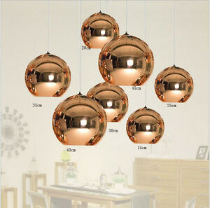 Modern 7 Sizes Copper Mirror Gl Ball Ceiling Light Pendant Lamp