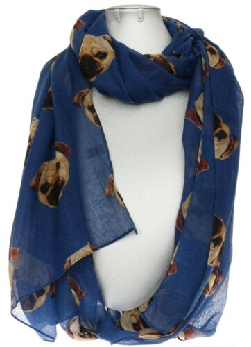 Pug Dog Print Scarf Womens Shawl Maroon Navy Pink Grey Gift Wrap