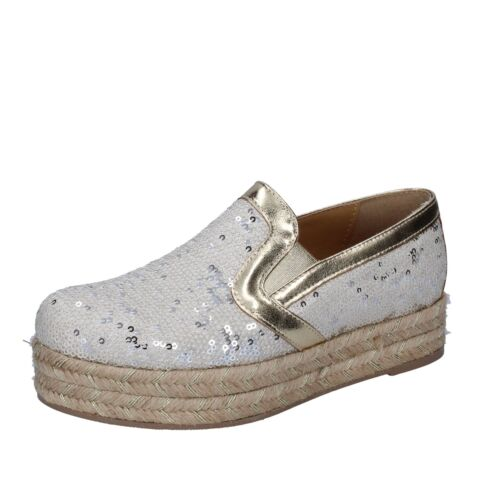 EU 38 espadrillas slip on white pailettes BS111-38 Details about  /women/'s shoes OLGA RUBINI 8