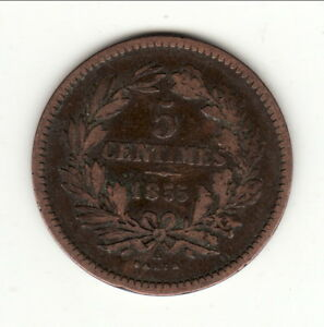LUXEMBOURG-RARE-5-CENTIMES-1855