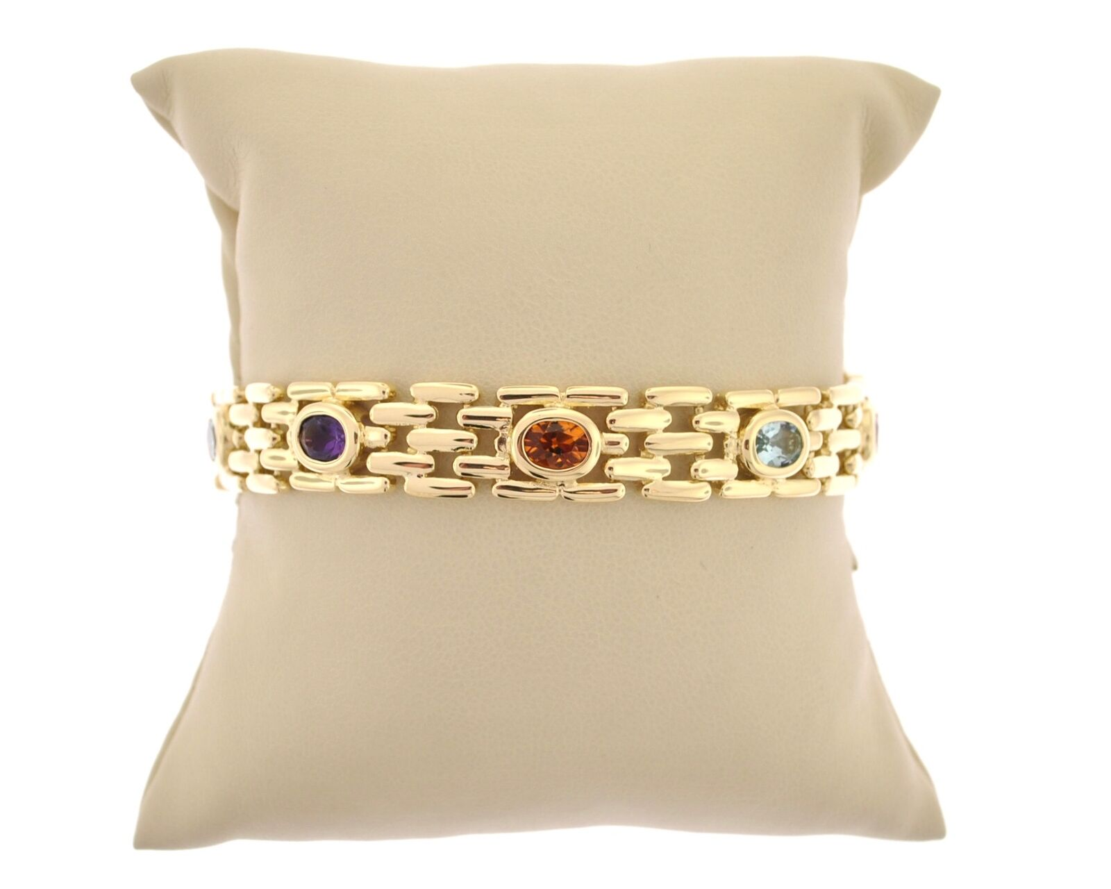 14K YELLOW gold BEZEL SET MULTI GEMSTONE BRACELET CITRINE AMETHYST blueE TOPAZ