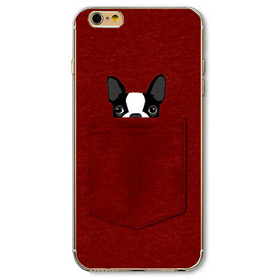 Boston Terrier Dog In Pocket Soft Case for iPhone 4S 5 5S SE 5C 6 6S Plus 7